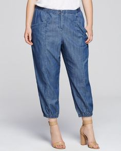 Eileen Fisher Plus Chambray Ankle Pants