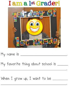 "Great Ideas for the beginning of the year.  I love the ""1st day of 1st grade"" photo frame/writing activity.  Also great ideas using photos of students to teach procedures."