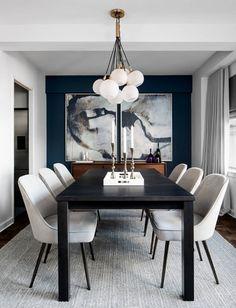 Black And White Dining Room, Dining Room Blue, Dining Room Wall Decor, Dining Room Sets, Dining Room Design, Dining Tables, Dining Room Paint, Decor Room, Design Bedroom