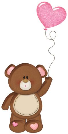 Brown Teddy with Pink Heart Balloon PNG Clipart