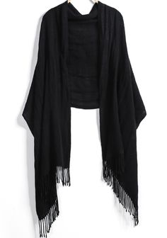 Black Pattern Tassel Scarves - Sheinside.com