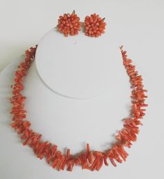 Vtg Natural Salmon Red Branch Coral Graduated Choker Necklace Earrings Set #NotSigned