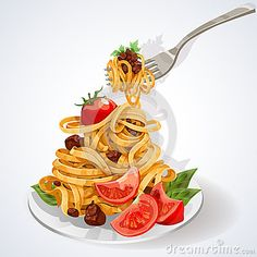 Pasta with tomato and meat sauce on a plate and fork. vector illustration of Italian food set. #Pasta #tomato
