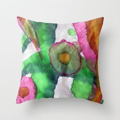 Flow day 3 Throw Pillow by Pajaritaflora -Pink splatter and green spotted gold. I played with the sumi brush and some inks today and got many feet of rice paper joy.
