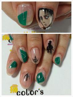 進撃の巨人(Attack on Titan) - リヴァイ : Character nail art Kawaii Nail Art, Cute Nail Art, Cute Nails, Otaku, Attack On Titan, Japan Nail Art, Anime Nails, Posh Nails, Korean Nails