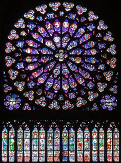 Stained Glass Window of Notre Dame by Circumnavigation. Stained Glass Window of Notre Dame, Paris, France Stained Glass Church, Stained Glass Art, Stained Glass Windows, Mosaic Glass, Rose Window, Church Windows, Leaded Glass, Religious Art, Oeuvre D'art