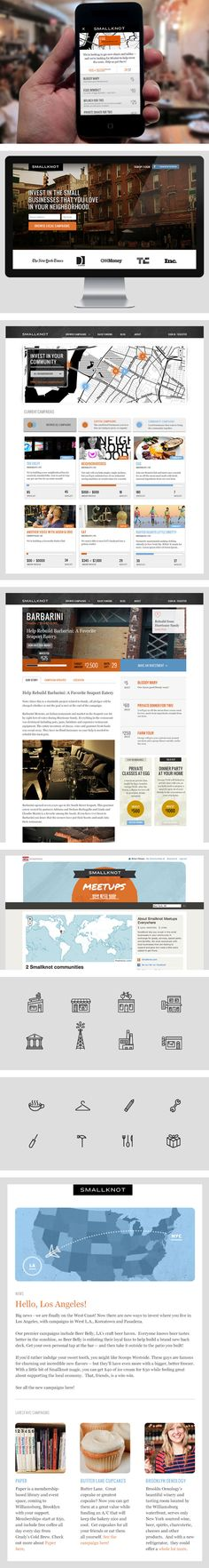 Smallknot by Brian Pelayo, via Behance *** Smallknot is the best way to fund and connect with the local businesses that you love in your neighborhood.
