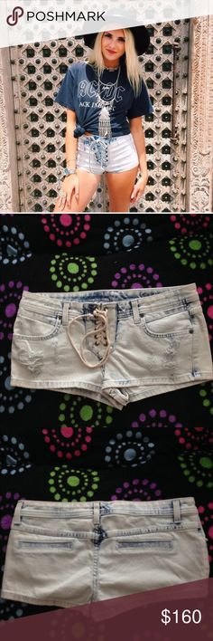 LF Carmar acid wash denim lace up shorts-NWT! LF Carmar acid wash denim lace up shorts-NWT! These are the coolest! Each pair is slightly different! Two front pockets- 2 non functional back pockets! Original retail price for these is $208! LF Shorts Jean Shorts