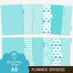 A5 planner dividers: AQUA BLUE  Add some stunning blue shades to your A5 planner with these lovely aqua blue printable dividers. Simply print