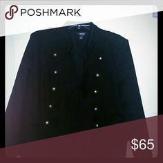 Blazer/Jacket NWT Black with embroidery on neck and sleeve waist defining with dull bronze buttons very cool looking and upbeat style ! Ana Jackets & Coats Blazers