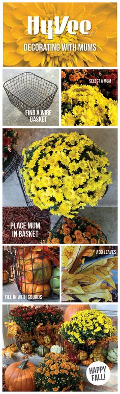 Here's a great #fall decorating idea. Get creative with mums, pumpkins, gourds and leaves!