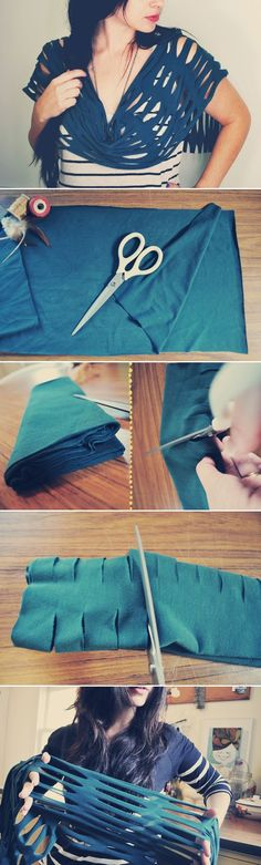 scarves easy ideas tutorial stretching cloth blue
