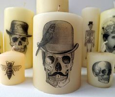 Halloween DIY Printed Candles - transfer a printed image using tissue paper & a hair dryer. (Must try!)