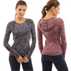 Women Sports Hoodies Sweatshirt Pockets Hooded Crochet Pullover Fitness Jumper G