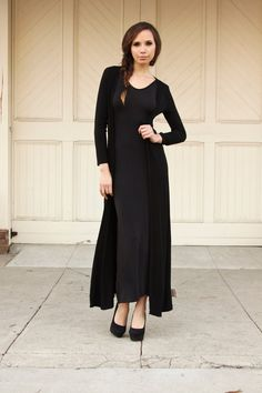 Lynn Jersey Floor Length Open Cardigan - Black, Outerwear ...