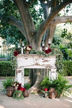 Autumn and Winter Wedding Inspiration: The Wedding Fireplace Cool and quirky ideas on incorporating a fireplace into your wedding decor either in the ceremony area or wedding lounge. Perfect for a Autumn or Winter wedding Wedding Ceremony Ideas, Ceremony Decorations, Fall Wedding, Rustic Wedding, Wedding Backdrops, Green Wedding, Wedding Fireplace Decorations, Trendy Wedding, Wedding App