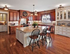 crown moding, hutch, furniture feet, panels, arched bottom, glass front doors, Kitchen Island, Kitchen Cabinetry, Kitchen Cabinets, White Cabinetry, White Cabinets, Traditional, Dual-Colored, Custom, Seating Area
