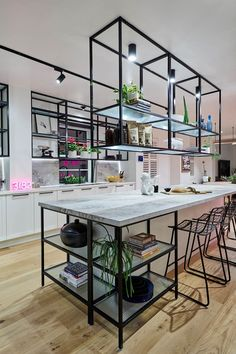 Courtney and Hans really saved the best for last with their industrial, cafe-style kitchen featuring gantry style shelving and an island bench that seems to go on *forever* with a stunning stone composite benchtop and splashback that screams luxury. Luxury Kitchen Design, Best Kitchen Designs, Luxury Kitchens, Interior Design Kitchen, Diy Kitchens, Industrial Style Kitchen, Rustic Kitchen, Kitchen Decor, Industrial Cafe