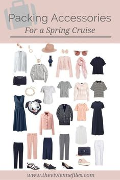 Packing Accessories for a Cruise, in a Navy, Blush, Grey and White Travel Capsule Wardrobe - The Vivienne Files - Top Trends Capsule Wardrobe, New Wardrobe, Summer Wardrobe, Travel Capsule, Travel Packing, Travel Outfits, Packing Tips, Vacation Travel, Cruise Vacation