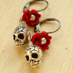 Silver Skull and Rose Charm  Earrings, Gothic Bridesmaids Earrings, ROSA MUERTE Collection