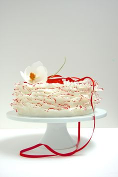 Beautiful ruffle cake for a new year holiday in red and white.  Traditional lucky colors in Japan.