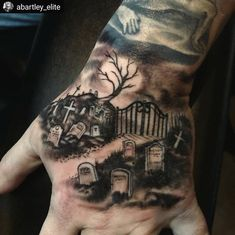 Adam Bartley did this freehand graveyard on Paul not too long ago. It's never too early in the year to get ~spooky~ Evil Skull Tattoo, Zombie Tattoos, Spooky Tattoos, Badass Tattoos, Tattoos For Guys, Forarm Tattoos, Forearm Sleeve Tattoos, Hand Tattoos, Peace Tattoos
