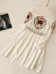Best 11 Tidebuy Embroidery Slash Neck Women's Day Dress Cute Casual Outfits, Pretty Outfits, Pretty Dresses, Stylish Outfits, Casual Dresses, Casual College Outfits, Prom Dresses, Ladies Day Dresses, Stylish Dresses For Girls
