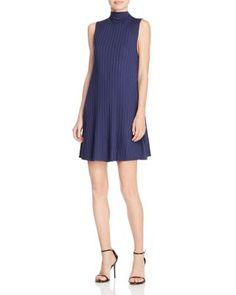 AQUA Wide Rib Mock Neck Swing Dress | Bloomingdale's