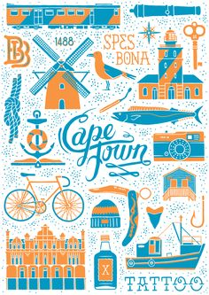 The work of Cape Town-based creative agency Studio Muti is a proud example of South Africa's exceptional home grown talent. Studio Muti comprises of Clinton Campbell and Miné Jonker, whose e… Travel Illustration, Graphic Design Illustration, City Poster, Miss Moss, Travel Icon, Doodles, Vintage Travel Posters, Graphic Design Inspiration, Creative Inspiration