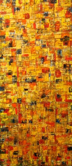 """""""32 Squares Autumn"""" is a beautiful oil on a large 32""""x 48"""" canvas by Chicago Artist, Peter Walsh."""