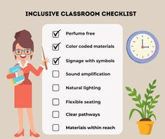 Easy ways to make your classroom accessible for students with disabilities. Classroom Checklist, Inclusive Education, Inclusion Classroom, Teaching Strategies, Free Coloring, Natural Light, Signage, Flexibility, Students