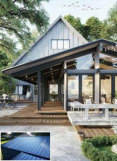 "rustic house design trends in 2019 31 > Fieltro.Net""> rustic house design trends in 2019 31 > Fieltro. Metal Building Homes, Metal Homes, Building A House, Building Design, Build House, Building Ideas, Future House, My House, Back Porch Designs"