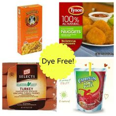 Dye free kid foods - lists for breakfast, lunch, dinner, snacks, etc Diet Food List, Food Lists, Red Food Dye, Kid Foods, Adhd Diet, Red Dye 40, Dye Free Foods, Kids Diet, Adhd Strategies