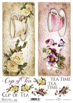 Rice Paper Decoupage Scrapbook Cup Saucer Flowers Tea Time for Tea Shabby Chic