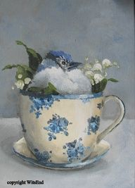 baby blue jay in antique tea cup, original painting, etsy. SOLD 2 likes 1 comment 5 repins etsy.com