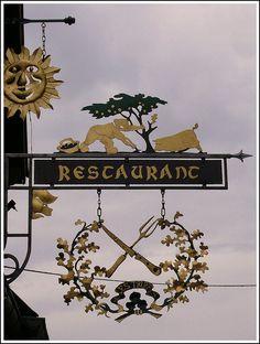 Restaurant Sign in Riquewihr, Haut-Rhin France