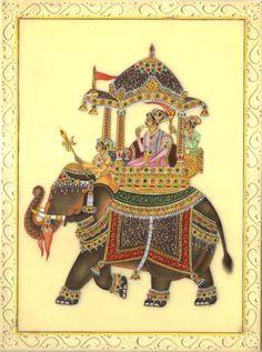 Mughal Miniature Royal Art Handmade Ambabari Elephant Watercolor Ethnic Painting