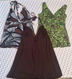 Michael Kors Halter Tank Top Lot Green Brown Sz XS SM Summer Shirts  | eBay