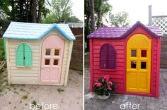 I found an old faded Little Tykes cottage on Craigslist and upcycled it with Krylon fusion spray paint. It was pretty easy to do and my daughter L O V E S it! Little Tykes Playhouse, Little Tikes House, Woodlands Cottage, Plastic Playhouse, Suburban House, Best Chicken Coop, Brown Walls, Backyard For Kids, Plein Air