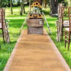 Rustic Summer Wedding Burlap Wedding Aisle Runner with Delicate Lace Borders, topped with sunflowers!