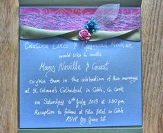 Green ribbon with pink blue roses and silver leaf on pink damask on blue green pocketfold, by PetalsnLace Blue Roses, Pink Blue, Blue Green, Pink Damask, Green Ribbon, Rsvp, Wedding Invitations, Silver, Color