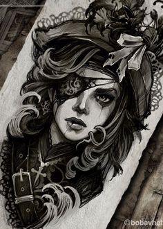 Neo Tattoo, Dark Art Tattoo, Clock Tattoo Design, Tattoo Designs, Tattoo Sketches, Tattoo Drawings, Pirate Girl Tattoos, Pirate Lady Tattoo, Mythology Tattoos