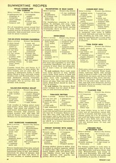 """""""The Woman's Day 1954 Summertime Cook Book"""" Main Dish Recipes from """"Woman's Day"""" Retro Recipes, Old Recipes, Vintage Recipes, Cookbook Recipes, Chili Recipes, Copycat Recipes, Cooking Recipes, Amish Recipes, Cooking Tips"""