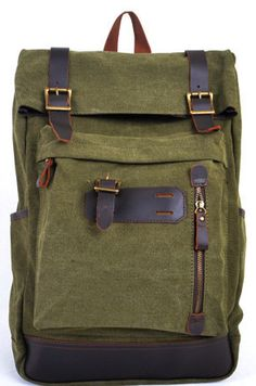 6cc2fee8ef9e Army Green Canva Backpacks Canvas-Leather Backpacks School Backpack