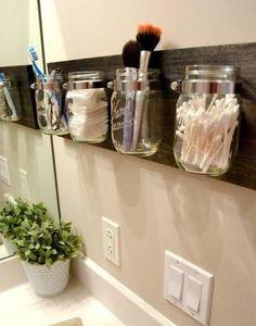 Click Pic for 18 DIY Bathroom Storage Ideas - Mason Jar Organizers - Bathroom Organization Ideas Bathroom Organisation, Bathroom Storage, Home Organization, Jar Storage, Bathroom Shelves, Storage Shelves, Organizing Ideas, Bathroom Vanities, Organized Bathroom