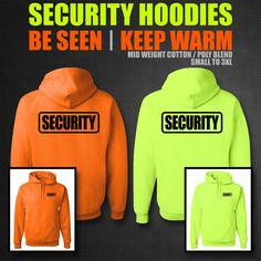 SECURITY HOODIE **** SAFETY ORANGE or SAFETY GREEN **** SMALL - 3XL **** #hoodie #custom #customhoodie #security