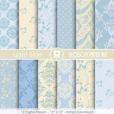 Light Blue Digital Paper, Damask Paper Pack, Wedding Digital Paper Pack, Floral digital backgrounds, Floral, Damask Wedding Papers -1682