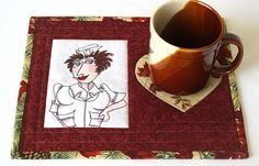 Quilted Mug Rug Nurse Mug Rug Autumn Snack Mat by RedNeedleQuilts
