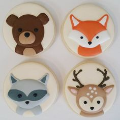 Woodland Animals Cookies for a Fox Baby Shower Food Idea Bear Cookies, Iced Cookies, Cute Cookies, Woodland Cake, Woodland Theme, Woodland Party, Baby Girl Shower Themes, Baby Shower Cookies, Woodland Animals