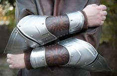 Brown Leather & Metal Bracers with stamping